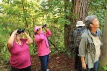 Miembros de Tanunas observando ave en P. N. Celaque