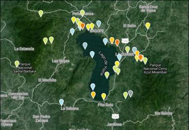 La cuenca del Lago de Yojoa. Los pins son sitios de interés para la observación de aves, registrados en eBird.org, y sus colores reflejan la riqueza de especies de aves que han sido reportadas hasta la fecha. Imagen de Google Earth descargado 23 Marzo 2016 de eBird.org.