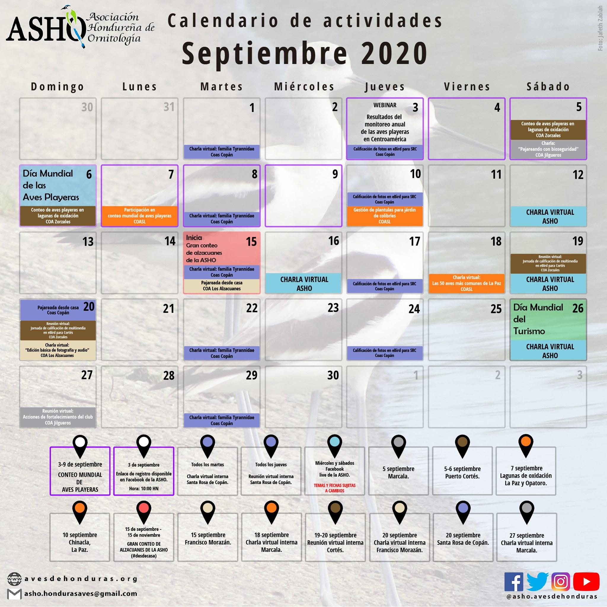 Calendario de actividades septiembre 2020